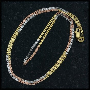 """10k Tri-Tone, 18"""" Mariner Link Chain Necklace"""