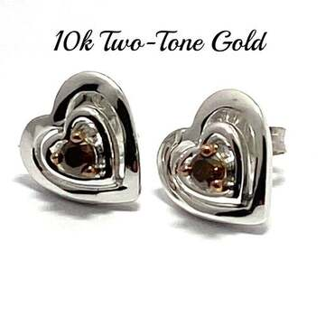 10k Two-Tone Gold, 0.13ctw Natural Chocolate Diamond Heart Stud Earrings