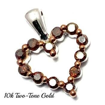 10k Two-Tone Gold, 0.30ctw Natural Chocolate Diamond Heart Pendant