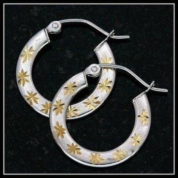10k Two-Tone Gold, 0.8 Grams Earrings