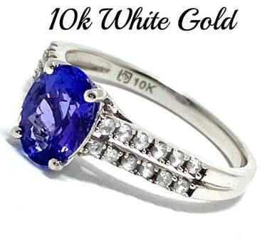 10k White Gold, 0.02ct Genuine Diamond & 1.50ct Tanzanite & 0.25ct White Topaz Ring Size 7