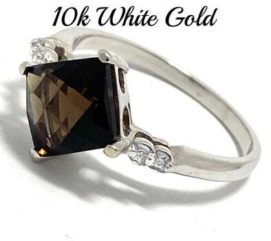 10k White Gold, 0.02ct Genuine Diamond & 1.75ct Smoky Quartz Ring Size 6.5