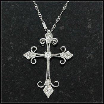 10k White Gold, 0.04ctw Genuine Diamonds Cross Pendant Necklace