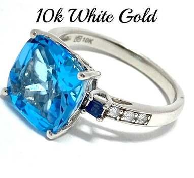 10k White Gold, 0.06ct Genuine Diamond & 5.20ct Blue Topaz & 0.10ct Sapphire Ring Size 7
