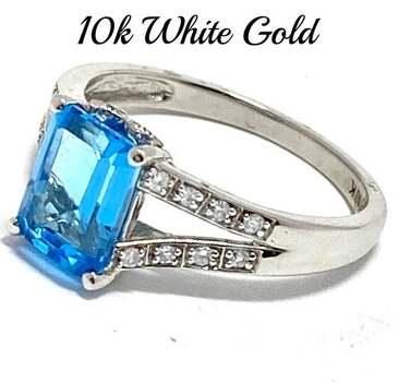 10k White Gold, 0.10ct Genuine Diamond & 2.00ct Blue Topaz Ring Size 7