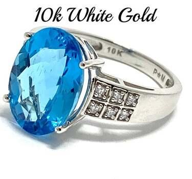 10k White Gold, 0.10ct Genuine Diamond & 8.75ct Blue Topaz Ring Size 7