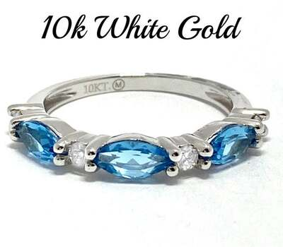 10k White Gold, 0.15ct Genuine Diamond & 0.75ct Blue Topaz Ring Size 7