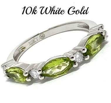 10k White Gold, 0.15ct Genuine Diamond & 0.75ct Peridot Ring Size 7