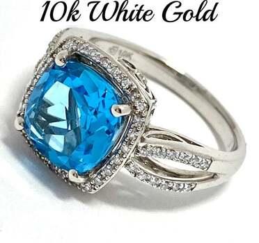 10k White Gold, 0.15ct Genuine Diamond & 4.00ct Blue Topaz Ring Size 7
