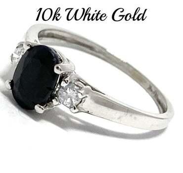 10k White Gold, 0.20ct Genuine Diamond & 0.75ct Sapphire Ring Size 7