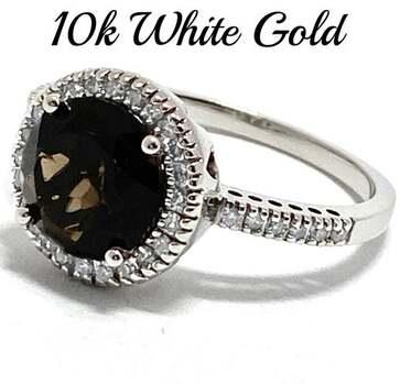 10k White Gold, 0.20ct Genuine Diamond & 3.50ct Smoky Quartz Ring Size 7