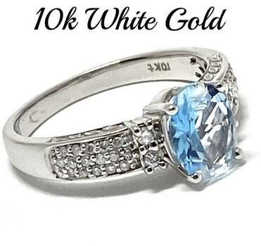 10k White Gold, 0.25ct Genuine Diamond & 1.50ct Blue Topaz Ring Size 7