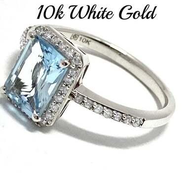 10k White Gold, 0.25ct Genuine Diamond & 2.00ct Aquamarine Ring Size 7