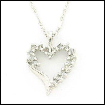 10k White Gold 0.25ctw Genuine Diamond Necklace
