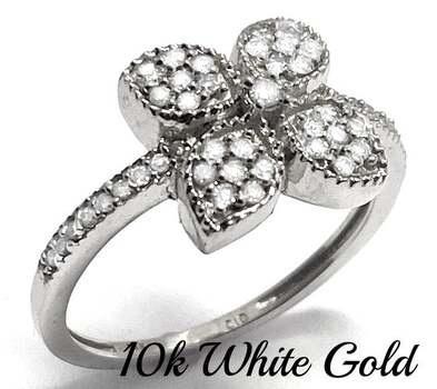 10k White Gold, 0.33ctw Natural Diamond Flower Ring Size 7