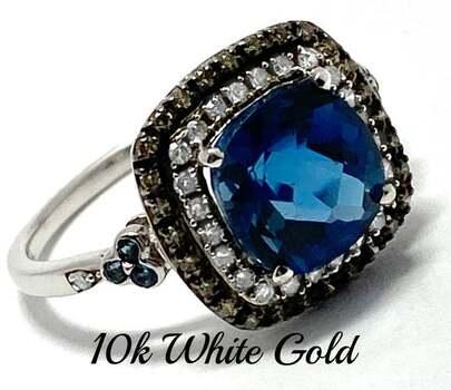 10k White Gold, 0.35ct Genuine Diamond & 2.8ct London Blue Topaz Ring Size 7