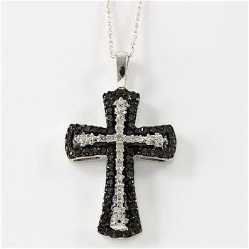 10k White Gold, 0.35ctw Genuine Black & White Diamonds Cross Necklace