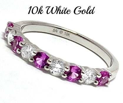10k White Gold, 0.40ct Genuine Diamond & 0.40ct Pink Sapphire Ring Size 7