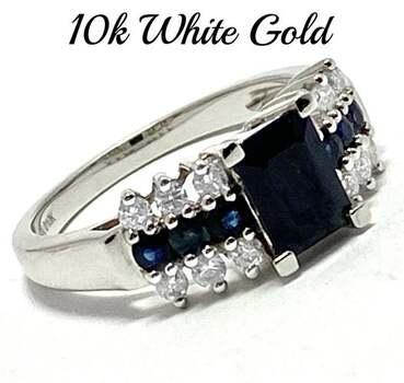 10k White Gold, 0.40ct Genuine Diamond & 1.35ct Sapphire Ring Size 7