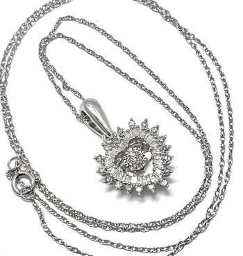 10k White Gold, 0.40ct Genuine Diamond Heart Shape Necklace