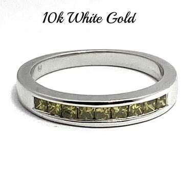 10k White Gold, 0.60ctw Natural Fancy Yellow Channel Set Princess Cut Diamond Band / Ring Size 7