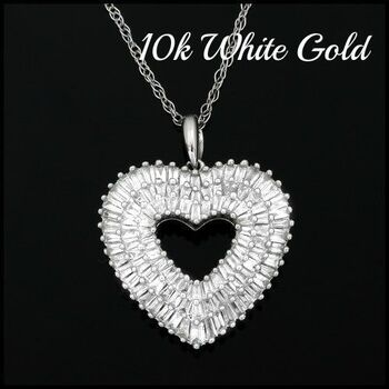 10k White Gold, 1.00ctw Natural Baguette Diamond Heart Pendant Necklace For Women