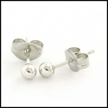 10k White Gold, 3mm Ball Stud Earrings
