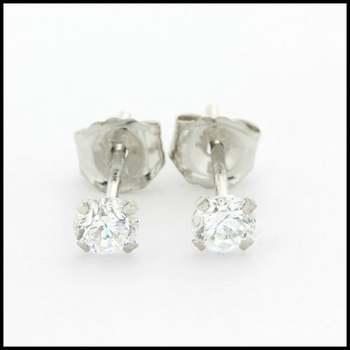 10k White Gold 3mm Cubic Zirconia Stud Earrings