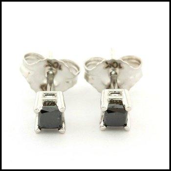 10k White Gold 3mm Princess Cut 0.25ctw Genuine Black Diamond Stud Earrings