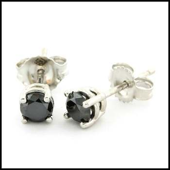 10k White Gold 4mm Round Cut 0.50ctw Genuine Black Diamond Stud Earrings