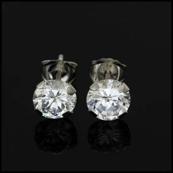 10k White Gold 5mm Cubic Zirconia Stud Earrings