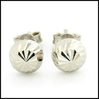 10k White Gold Diamond Cut Stud Earrings