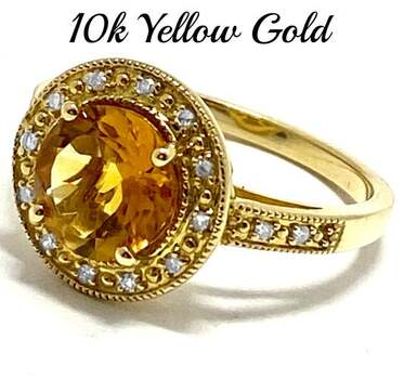 10k Yellow Gold, 0.10ct Genuine Diamond & 3.00ct Citrine Ring Size 7