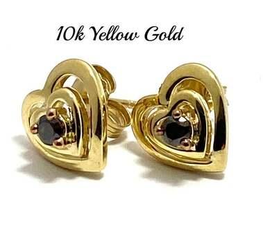 10k Yellow Gold, 0.13ctw Natural Chocolate Diamond Heart Stud Earrings