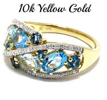 10k Yellow Gold, 0.15ct Genuine Diamond & 2.00ct Blue Topaz Ring Size 7