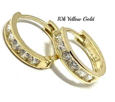 """10k Yellow Gold 0.20ct Diamonique Hoop Earrings 1/2"""" in Diameter"""