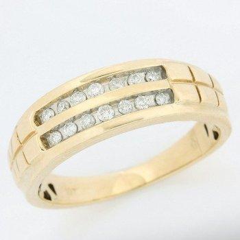 10k Yellow Gold 0.25ctw Genuine Diamond Men's Ring Size 11