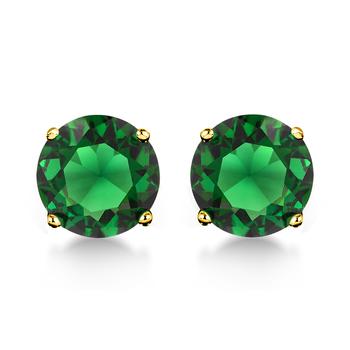 10k Yellow Gold, 0.30ctw Emerald Stud Earrings
