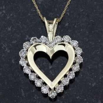 10k Yellow Gold 1.00ctw Genuine Diamond Necklace