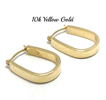 "10k Yellow Gold 3/4"" Long Hoop Earrings Beautifully Dainty"