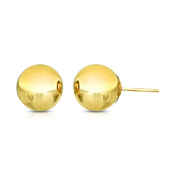 10k Yellow Gold, 3mm Ball Stud Earrings