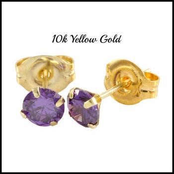 10k Yellow Gold, 4mm Amethyst Stud Earrings