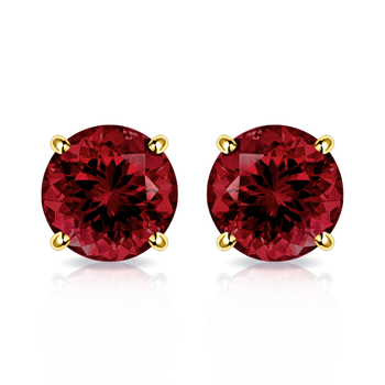 10k Yellow Gold, 4mm Garnet Stud Earrings