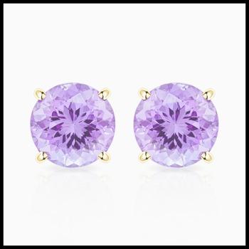 10k Yellow Gold, 4mm Lavender Amethyst Stud Earrings