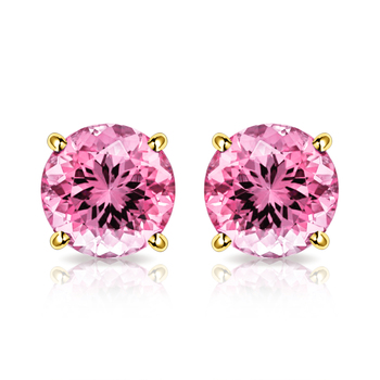 10k Yellow Gold, 4mm Pink Topaz Stud Earrings
