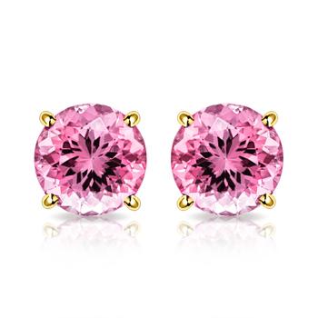 10k Yellow Gold, 4mm Pink Topaz Stud Earrings