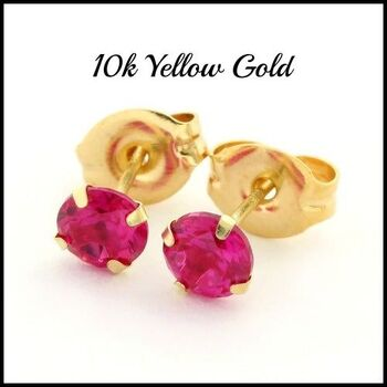 10k Yellow Gold, 4mm Roiund Ruby Stud Earrings Great for All Ages