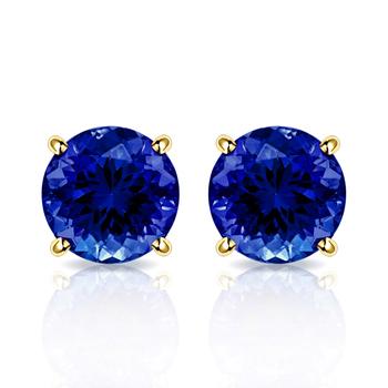 10k Yellow Gold, 4mm Sapphire Stud Earrings