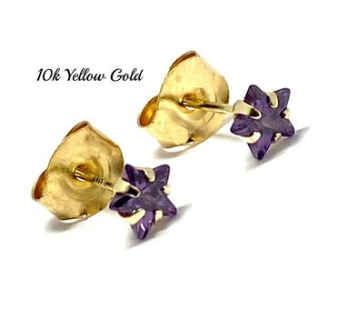 10k Yellow Gold 4mm Star Cut Amethyst Stud Earrings Beautifully Dainty
