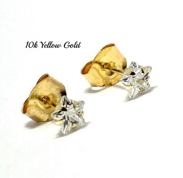 10k Yellow Gold 4mm Star Cut Diamonique Stud Earrings Beautifully Dainty